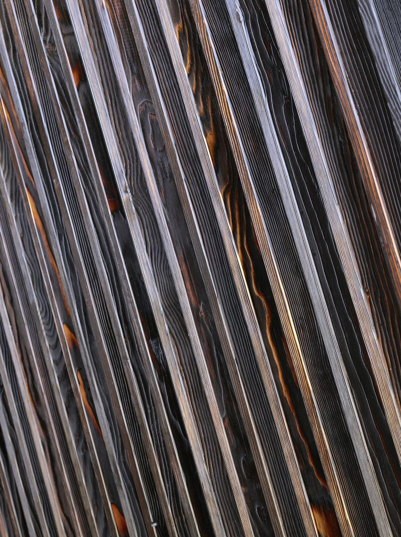 Detail of wooden panels in Greenside building, Edinburgh
